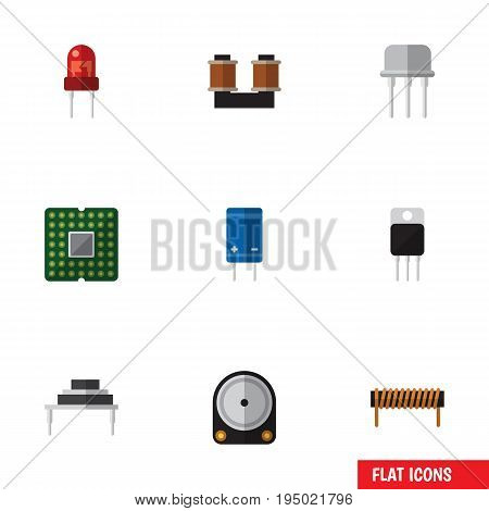Flat Icon Appliance Set Of Transistor, Bobbin, Hdd And Other Vector Objects. Also Includes Transducer, Hdd, Transistor Elements.