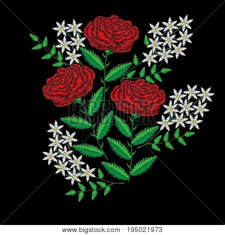 Embroidery stitches imitation flower. Fashion embroidery rose flower on black background. Embroidery big roses vector.