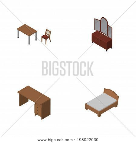 Isometric Design Set Of Drawer, Bedstead, Chair And Other Vector Objects. Also Includes Desk, Furniture, Table Elements.