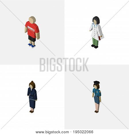 Isometric Person Set Of Guy, Businesswoman, Policewoman And Other Vector Objects. Also Includes Doctor, Nurse, Medic Elements.