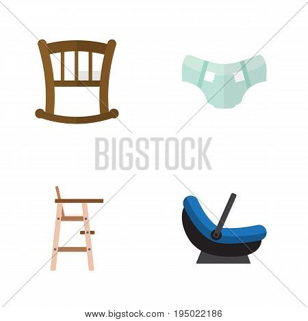 Flat Icon Child Set Of Child Chair, Pram, Nappy And Other Vector Objects. Also Includes Chair, Stool, Cradle Elements.