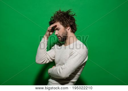 Tired Guy With Beard And Stylish Hair, Morning And Fashion