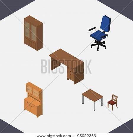 Isometric Furniture Set Of Cabinet, Chair, Office And Other Vector Objects. Also Includes Table, Locker, Closet Elements.