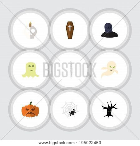 Flat Icon Halloween Set Of Casket, Spinner, Cranium And Other Vector Objects. Also Includes Bones, Candle, Ghost Elements.
