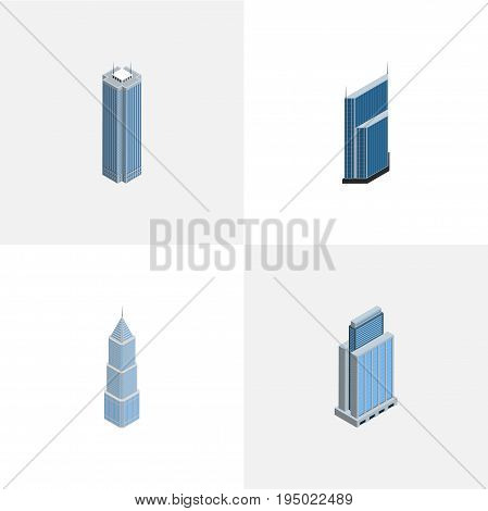 Isometric Construction Set Of Skyscraper, Urban, Residential And Other Vector Objects. Also Includes Residential, Skyscraper, Business Elements.