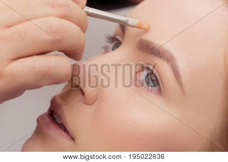 Woman Getting Foundation Cream On Face With Brush