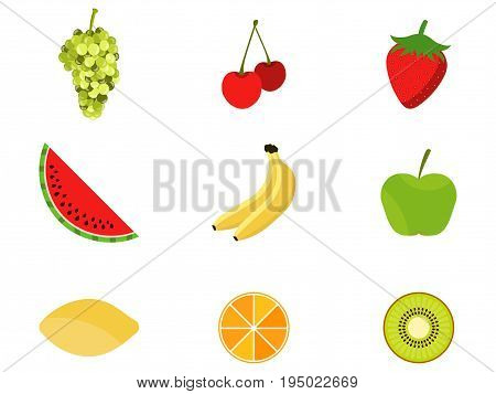Set of fruits in a flat style. Fruits and berries citrus. Icons on white background. Vector illustration