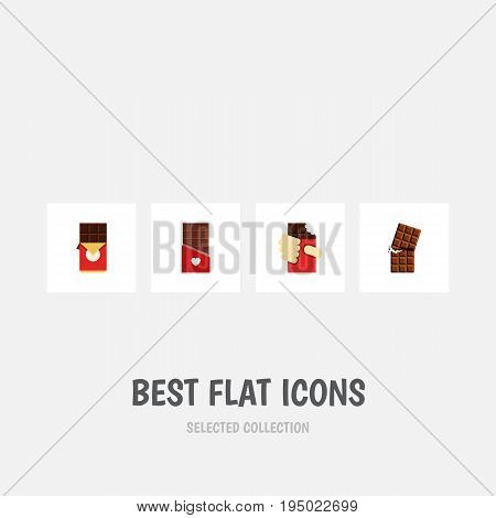 Flat Icon Chocolate Set Of Chocolate, Wrapper, Chocolate Bar And Other Vector Objects. Also Includes Wrapper, Dessert, Shaped Elements.