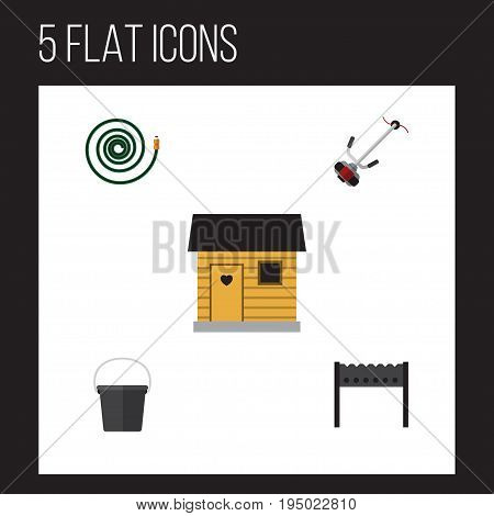 Flat Icon Dacha Set Of Pail, Stabling, Barbecue And Other Vector Objects. Also Includes Cutter, Mower, Hose Elements.