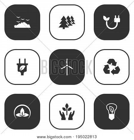 Set Of 9 Bio Icons Set.Collection Of Protection, Fan, Reforestation And Other Elements.