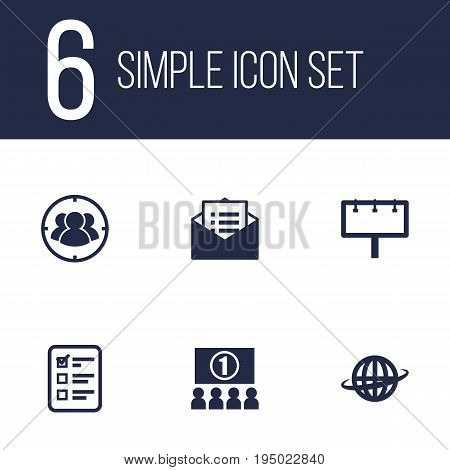 Set Of 6 Advertising Icons Set.Collection Of Customer Summary, World, Group And Other Elements.