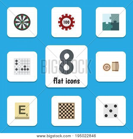 Flat Icon Play Set Of Chess Table, Backgammon, Mahjong And Other Vector Objects. Also Includes Backgammon, Chess, Dice Elements.