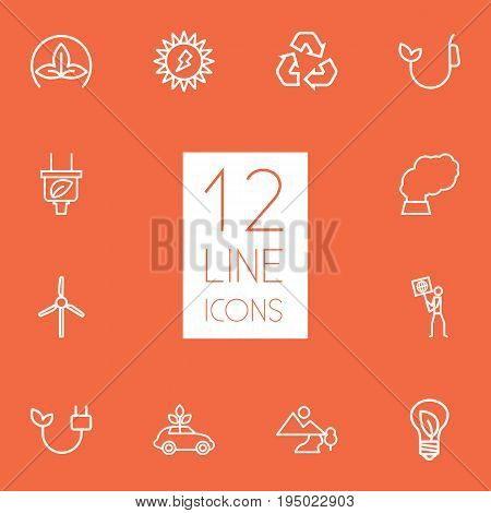 Set Of 12 Ecology Outline Icons Set.Collection Of Plug, Landscape, Ecologist Elements.