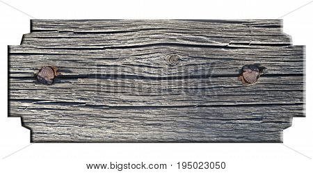 Wooden Sign On White Background