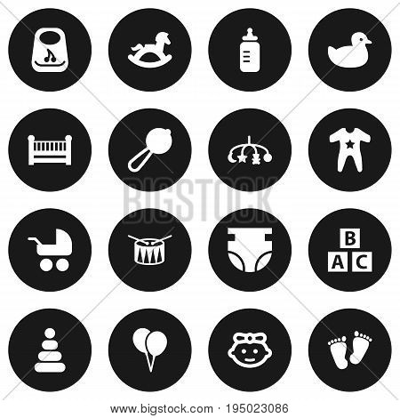 Set Of 16 Baby Icons Set.Collection Of Breastplate, Maraca, Smock And Other Elements.