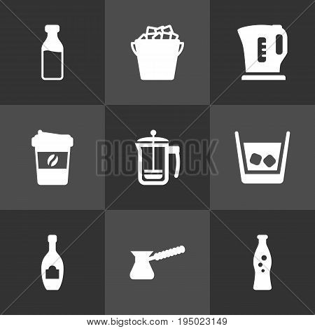 Set Of 9 Drinks Icons Set.Collection Of Electric Teapot, Turkish Coffee, Pot And Other Elements.