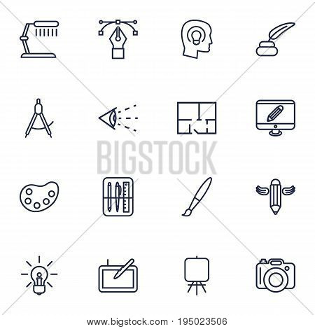 Set Of 16 Constructive Outline Icons Set.Collection Of Monitor, Inkwell With Pen, Writing And Other Elements.