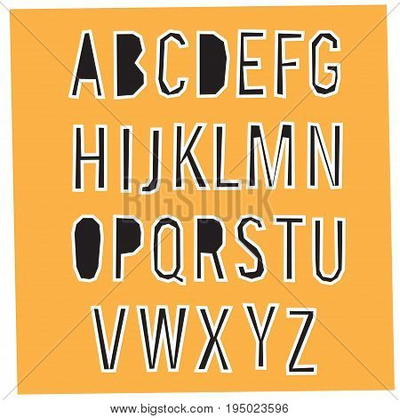 Paper Cut Alphabet. Black letters with white stroking. Capital letters.