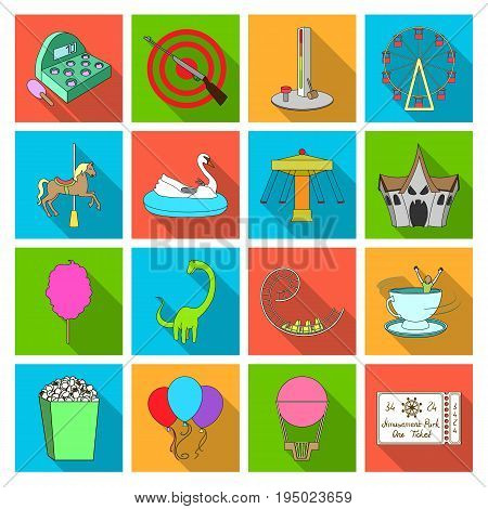 Carousel, shooting range, slides, cotton wool and other attributes.Amusement Park set collection icons in flat style vector symbol stock illustration .