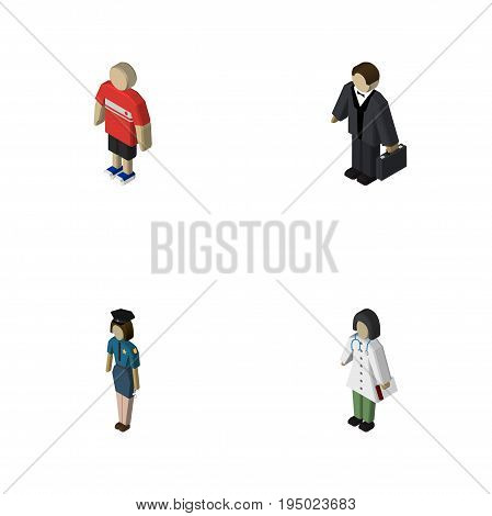 Isometric Person Set Of Guy, Doctor, Investor And Other Vector Objects. Also Includes Female, Man, Policewoman Elements.