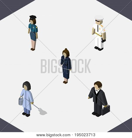 Isometric Human Set Of Seaman, Investor, Businesswoman And Other Vector Objects. Also Includes Worker, Housekeeper, Cleaner Elements.