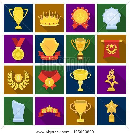 Cup, medal, pennant, and other elements. Awards and Trophies set collection icons in flat style vector symbol stock illustration .