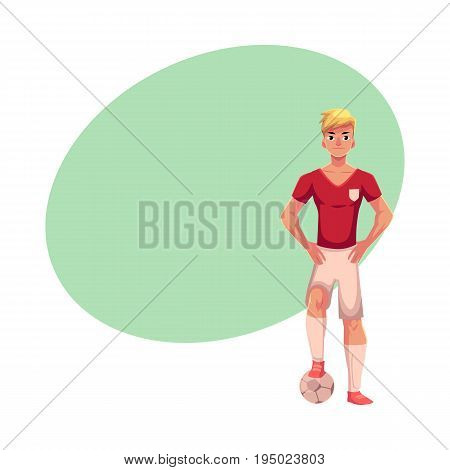 Soccer player in uniform standing with one foot on football ball, cartoon vector illustration with space for text. Professional soccer player standing upright with one foot on football ball