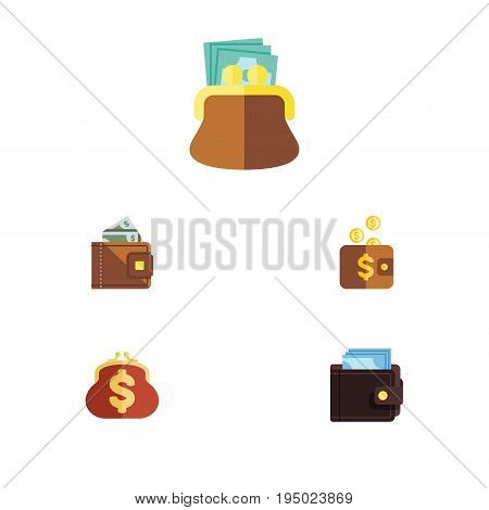 Flat Icon Purse Set Of Payment, Pouch, Saving And Other Vector Objects. Also Includes Money, Finance, Saving Elements.