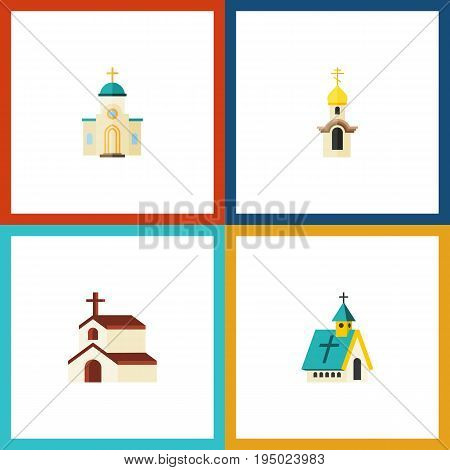 Flat Icon Building Set Of Structure, Architecture, Religious And Other Vector Objects. Also Includes Religious, Religion, Church Elements.