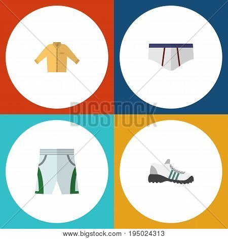 Flat Icon Garment Set Of Banyan, Underclothes, Trunks Cloth And Other Vector Objects. Also Includes Shorts, Shirt, Cloth Elements.