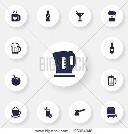 Set Of 13 Drinks Icons Set.Collection Of Green Tea, Cask, Fizzy Water And Other Elements.