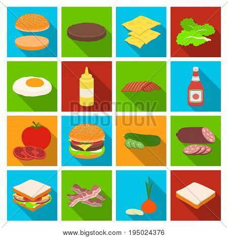Rolls, cutlets, cheese, ketchup, salad, and other elements. Burgers and ingredients set collection icons in flat style vector symbol stock illustration .