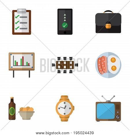 Flat Icon Oneday Set Of Whiteboard, Television, Briefcase And Other Vector Objects. Also Includes Chart, Whiteboard, Clock Elements.