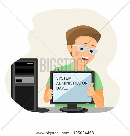 System administrator day card.Isolated on white background. Cartoon style. Vector illustration