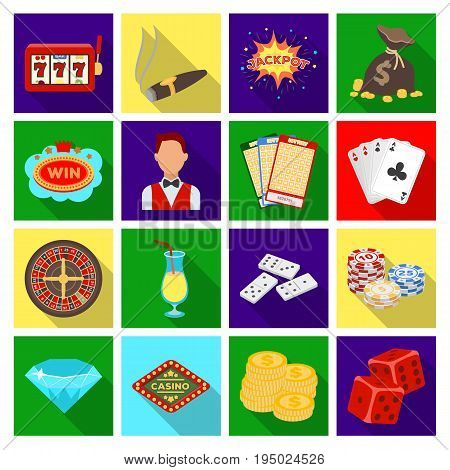 Roulette, cards, croupier, alcohol, and other attributes. Casino and gambling set collection icons in flat style vector symbol stock illustration .