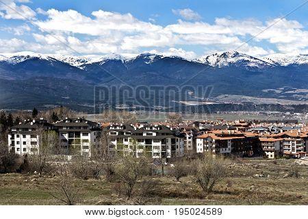 Visiting of Bansko town in spring. Bansko ski tourist centre of Bulgaria