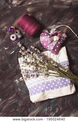 Sewing kits - pin cushion with needles, thread and lavender sachet