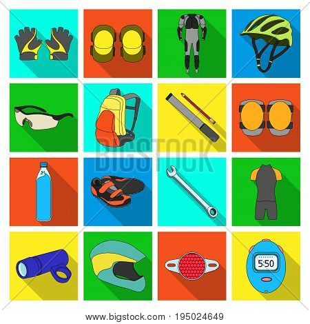 Gloves, suit, helmet, sneakers and other equipment. Cyclist outfit set collection icons in flat style vector symbol stock illustration .