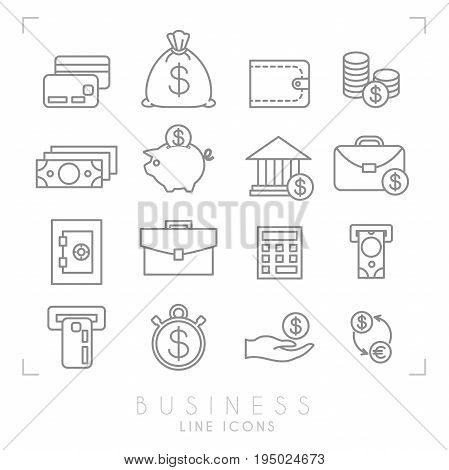 Set of line thin business and financial icons. Money card cash bag wallet coins dollars piggy bank bank brief case safe storage calculator ATM slot with cash and card timer hand with money and dollar euro exchange.