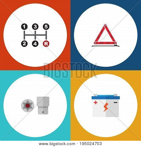 Flat Icon Auto Set Of Warning, Accumulator, Carrying And Other Vector Objects. Also Includes Car, Battery, Emergency Elements.
