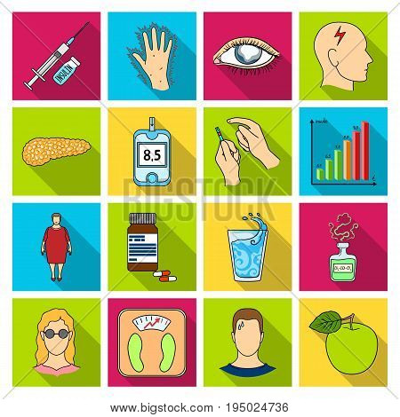 Insulin, sugar, level, analysis, diet and other attributes. Diabetes set collection icons in flat style vector symbol stock illustration .