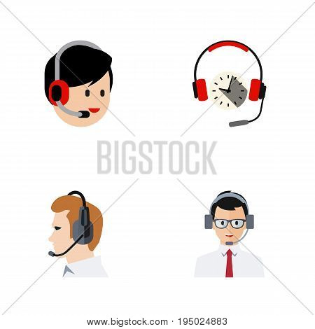 Flat Icon Call Set Of Telemarketing, Operator, Headphone And Other Vector Objects. Also Includes Telemarketing, Earphone, Support Elements.