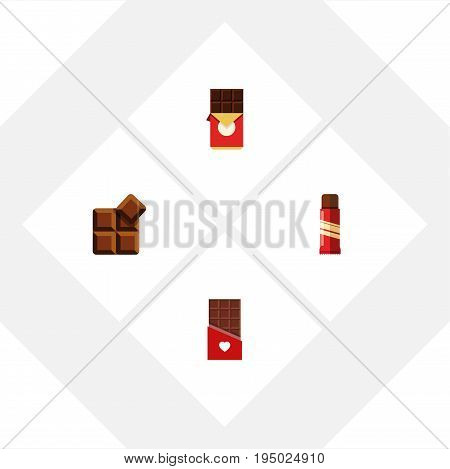 Flat Icon Chocolate Set Of Sweet, Cocoa, Chocolate Bar And Other Vector Objects. Also Includes Confection, Bitter, Sweet Elements.