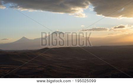 Symbol of Armenia - Mount Ararat at sunset