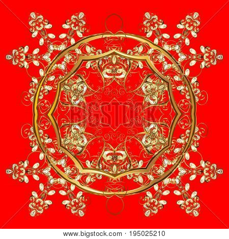 Winter vector frame with arabesques doodles dots and golden snowflakes. Fine greeting card. Colorful on a red background.