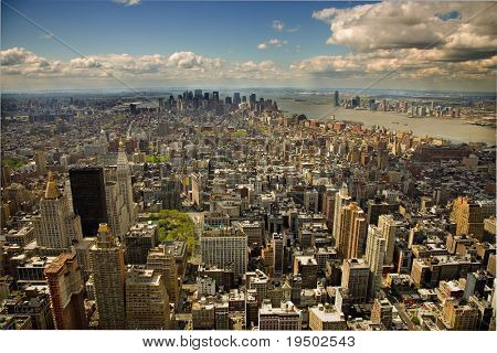 An aerial view of Lower Manhattan, New York