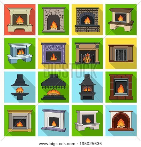 Fire, warmth and comfort. Fireplace set collection icons in flat style vector symbol stock illustration web.