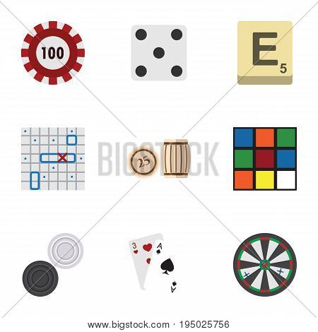Flat Icon Play Set Of Poker, Arrow, Mahjong And Other Vector Objects. Also Includes Ace, Arrow, Poker Elements.