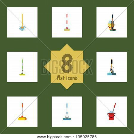 Flat Icon Broomstick Set Of Bucket, Equipment, Broomstick And Other Vector Objects. Also Includes Broomstick, Mop, Bucket Elements.