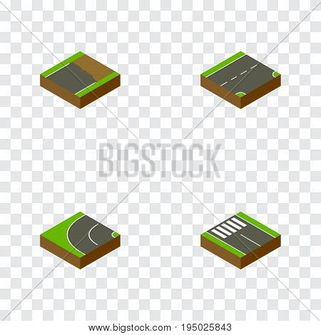 Isometric Way Set Of Down, Unfinished, Way And Other Vector Objects. Also Includes Strip, Unfinished, Road Elements.